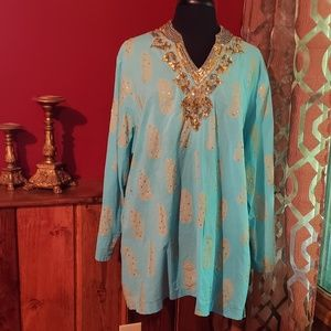 Denim 24/7 pretty blue & gold plus size blouse